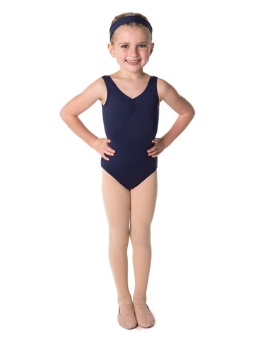 Gathered front navy leotard - 2-3 years CLEARANCE-0