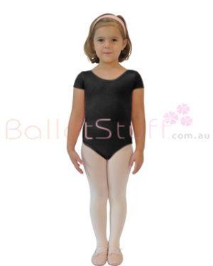 CLEARANCE Short Sleeve Dance Leotard - Child 4-5 Black-0