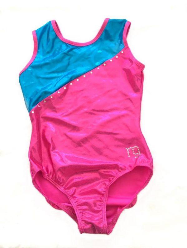 M&G Sportwear Aqua Pink Sparkle Foil Gymnastics Leotard - Size 12 years-0
