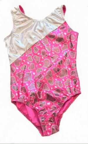 M&G Sportwear Pink & Silver Hearts Foil Gymnastics Leotard - Size 12 years-0